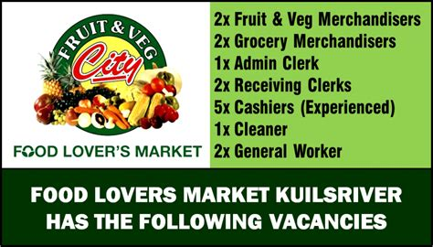 cleaner jobs in cape town food lovers market kuilsriver gt sa webbook