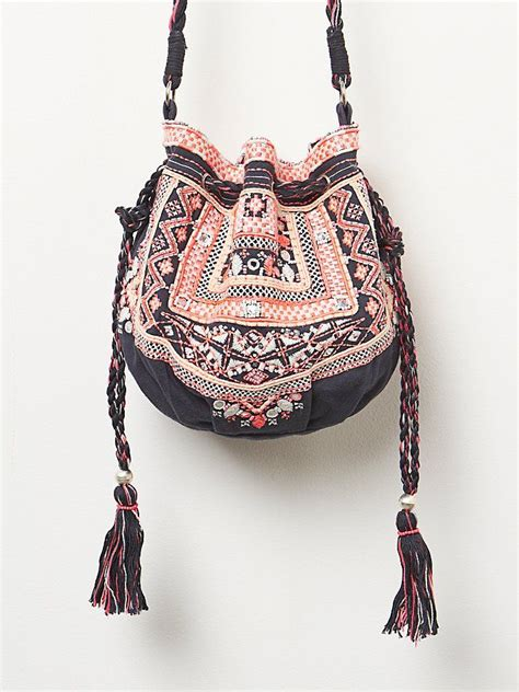 Backpack Adinda navy pink ethnic beaded embellished myla embroidered pouch crossbody purse bag with fringe