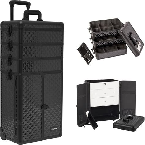 large rolling makeup case with drawers black diamond professional rolling aluminum cosmetic