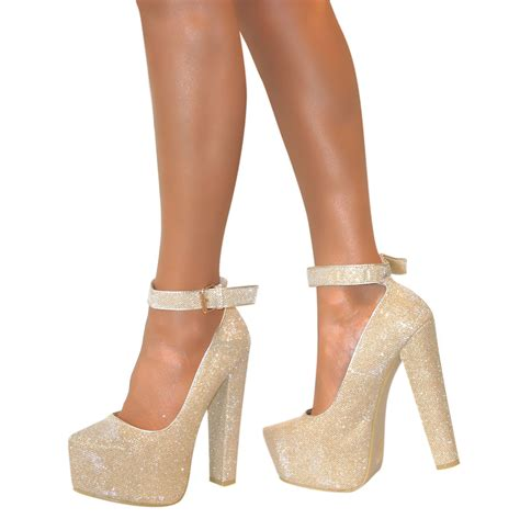 high heels chunky womens ankle cuff platform block chunky high heels