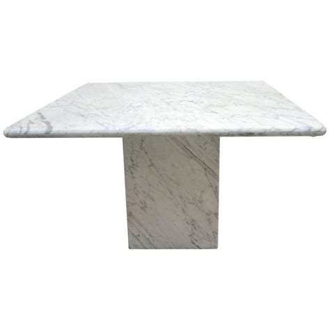 White Marble Dining Tables Mid Century Modern Minimalist Italian White Carrara Marble Pedestal Dining Table For Sale At 1stdibs