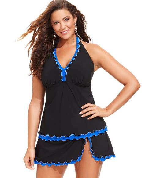 gottex plus size ruffle swim skirt in black lyst