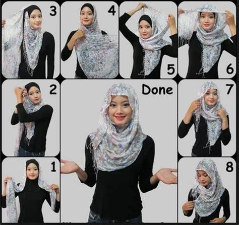 tutorial hijab anak kecil kreasi cara memakai jilbab monochrome segi empat