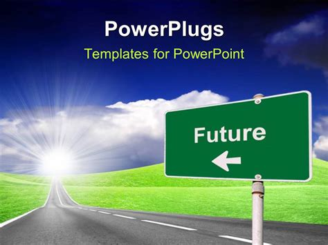 Powerpoint Template Highway With Road Sign Pointing To Powerplugs Powerpoint Templates