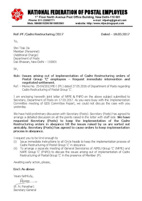 nfpe writes to member p on cadre restructuring of postal c
