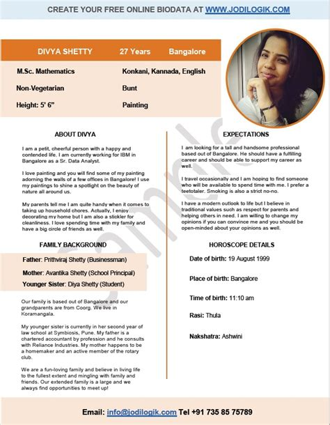 Matrimonial Resume Format India by Biodata Format For Marriage 7 Sles 2 Bonus Word