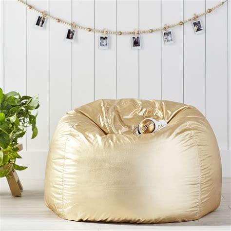 pottery barn bean bag gold metallic beanbag pbteen
