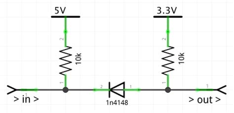 pull up resistor with diode digital logic is it possible to use a simple diode and pullup resistor to level shift in
