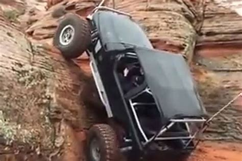jeep mountain climbing jeep climbing mountain sideways defies laws of everything