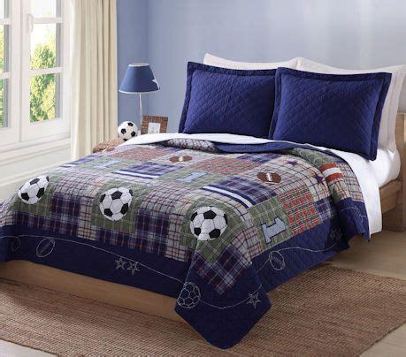 luxury navy blue sports boys bedding twin fullqueen cotton quilt set bedspread soccer football
