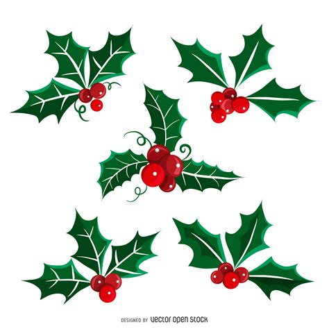 christmas mistletoe illustration set vector download