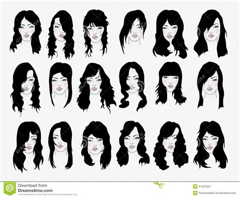 girl hairstyles vector vector set hair style silhouettes vector illustration