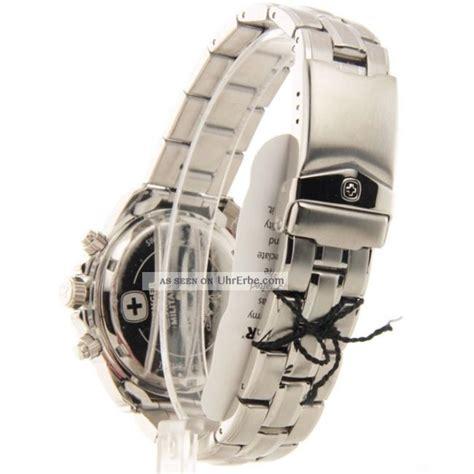 Herren Armbanduhr Wenger Chronograph Swiss 79136 Gst Edelstahl