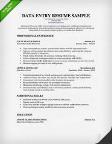 data entry resume sle writing guide rg