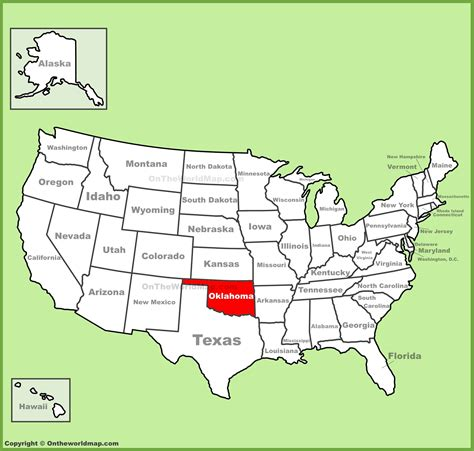 map of oklahoma state map of usa oklahoma location on the u s map