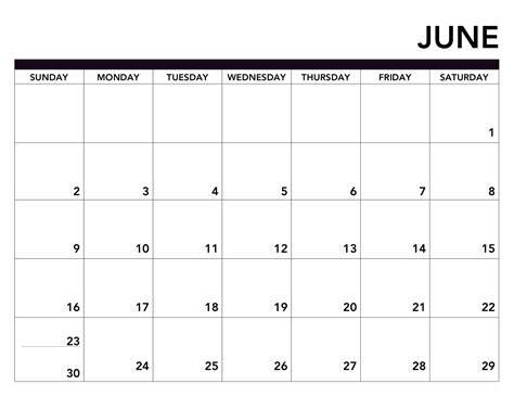 june  printable calendar  word excel