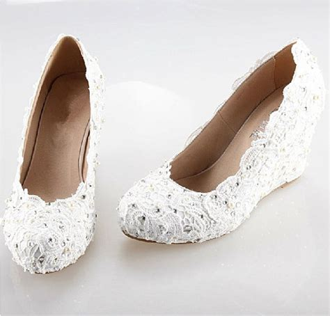 White Lace Wedding Wedges 2014 white iory lace wedge handmade lace bridal by