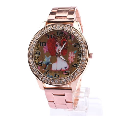 gold pattern style watch 2015 explosion models fashion lady rose gold watch nicole