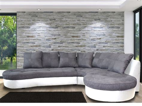 canapé gris blanc canap 233 d angle droit bimati 232 re blanc et gris stephane