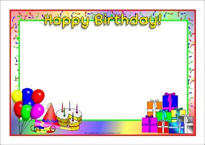 printable birthday cards a4 happy birthday a4 page borders sb4931 sparklebox