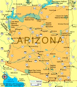 map of arizona cities and towns arizona map us