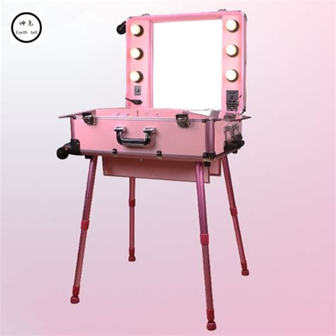 makeup suitcase with lights and mirror aluminum frame professional rolling studio makeup artist