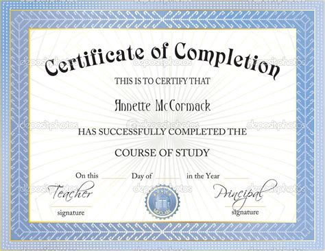 certificate of completion free template free certificate of completion templates for word of