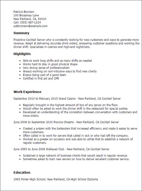 sle resume for cocktail waitress position