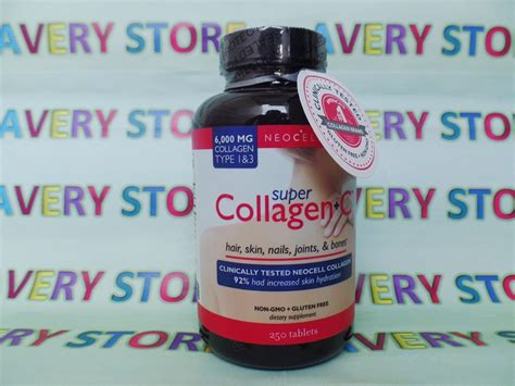 Collagen Tablet neocell collagen type 1 and 3 1000 mg 250 tablets with vit