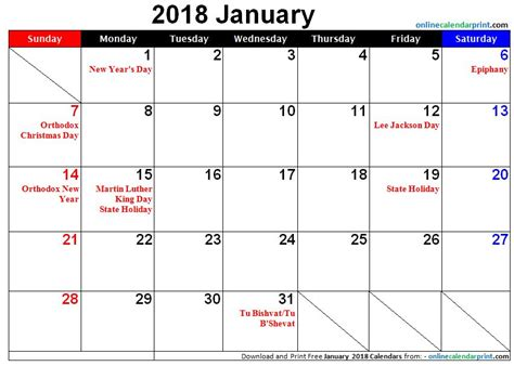 Calendar 2018 With Holidays Usa Printable January 2018 Calendar With Holidays Printable Calendar