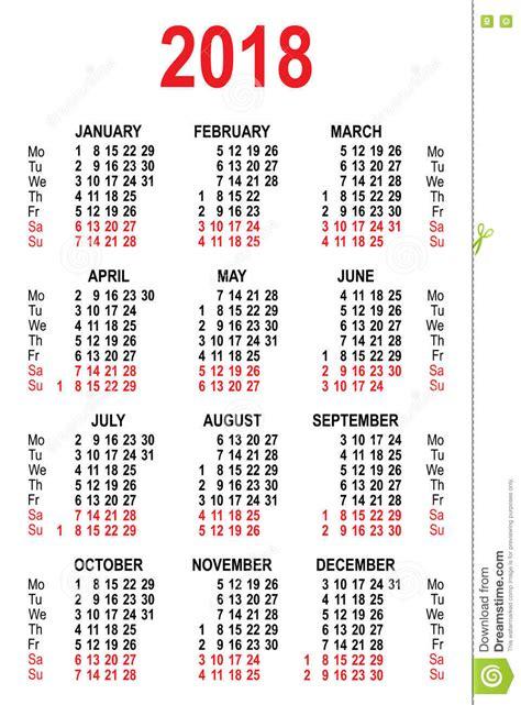 Mexico Kalender 2018 Plantilla 2018 De La Rejilla Calendario Ilustraci 243 N