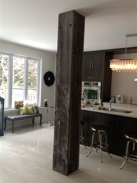 design home support barn board used to cover support beam in kitchen decor