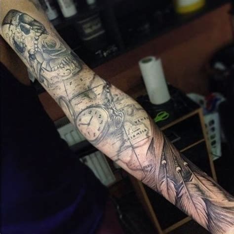 map tattoo sleeve creative map tattoos for the traveling type