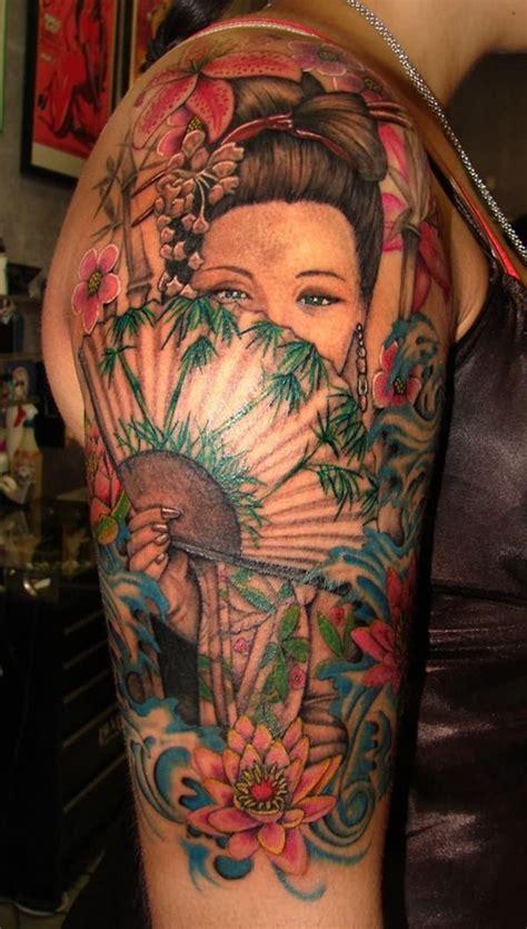 geisha tattoo male japanese tattoo designs for men color geisha woman