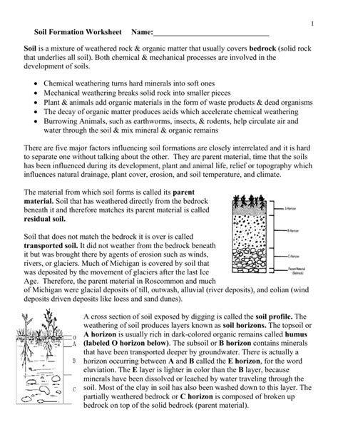 Soil Formation Worksheet Answers by Soil Formation Worksheet Answers Deployday