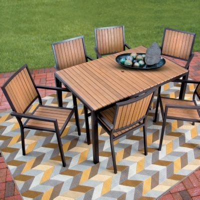 Faux Wood Patio Table Faux Wood Aluminum Outdoor Furniture Patio Dining Sets Follow Me Furniture And
