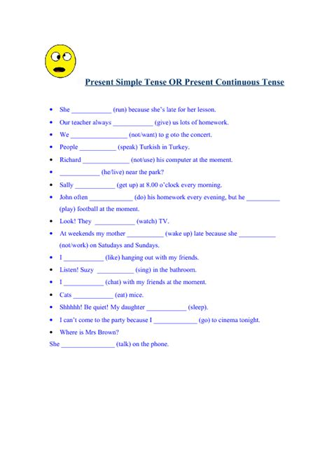 Simple Present Tense Worksheets by 184 Free Present Simple Vs Present Continuous Worksheets