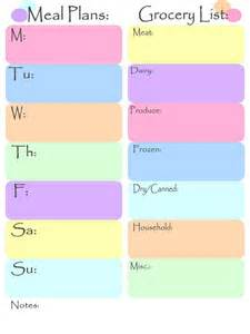 Meal Planning Grocery List Template Meal Plan And Grocery List Recipes X Pinterest