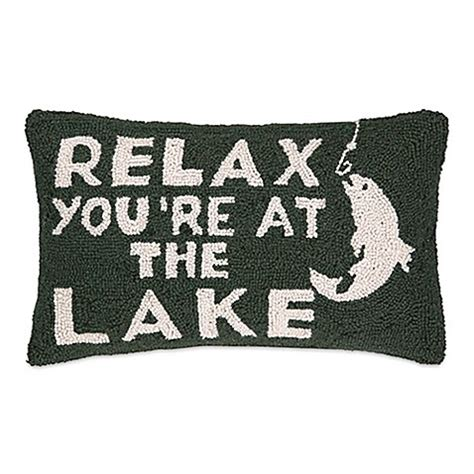 relax long bed pillow in cream accent pillow by takeflytefarm quot relax you re at the lake quot rectangle hand hooked throw
