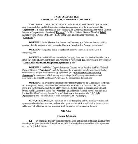 operating agreement template for llc 11 operating agreement templates free sle exle