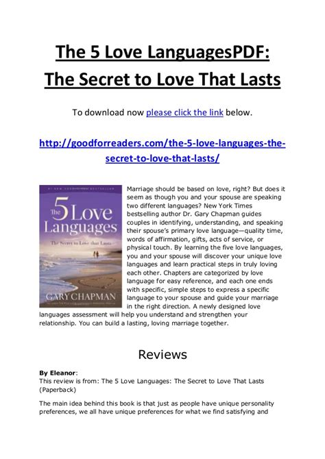 the 5 languages of teenagers the secret to loving effectively the 5 languages pdf