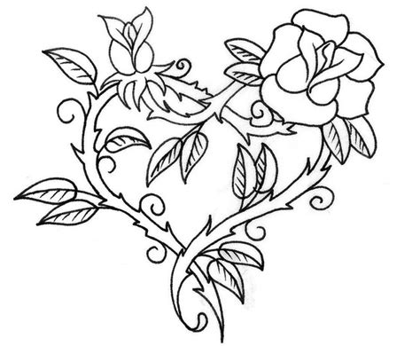 coloring pages of hearts with wings and roses image download