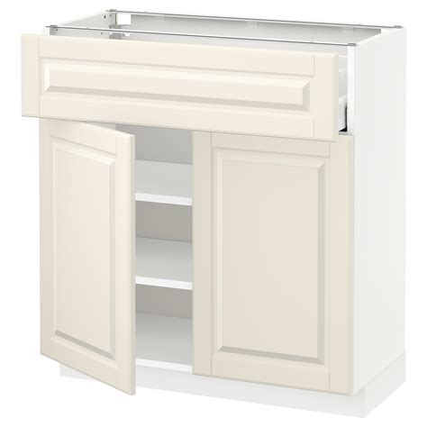 2 Drawer Base Kitchen Cabinet Metod Maximera Base Cabinet With Drawer 2 Doors White Bodbyn White 80x37 Cm Ikea