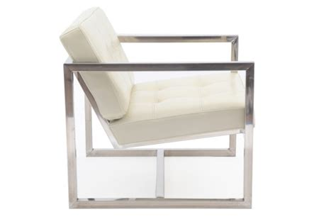 four stainless steel tufted lounge chairs modern