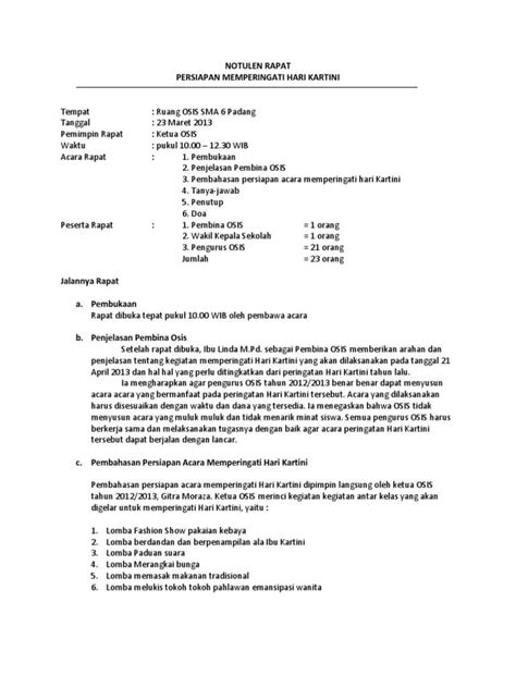 Contoh Notulen Rapat Kerja 7 contoh notulen rapat terlengkap dilengkapi dengan cara