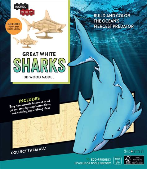 simon and the shark s cave books incredibuilds great white sharks 3d wood model book by
