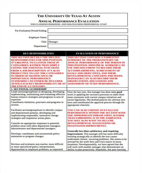 Employee Evaluation Form Annual Performance Evaluation Template
