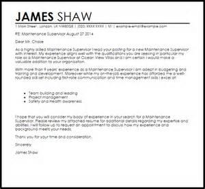 Maintenance Supervisor Cover Letter Sample Livecareer