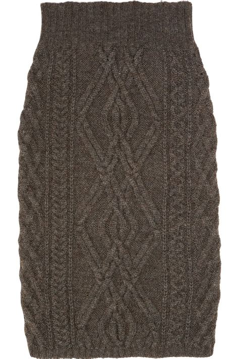 Cable Knit Merino Wool Blend Skirt