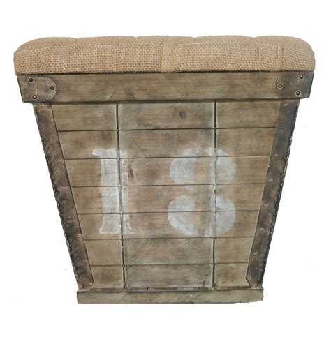 country ottomans french country cube storage crate with burlap cushion